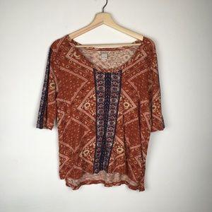 Lucky Brand 3/4 Sleeve Boho Pattern Shirt Top Tee